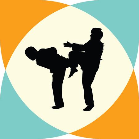 couple fight: taekwondo woman silhouette vector