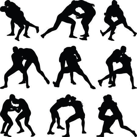 wrestling silhouette vector Фото со стока - 64417679