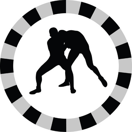 smack: wrestling silhouette vector Illustration