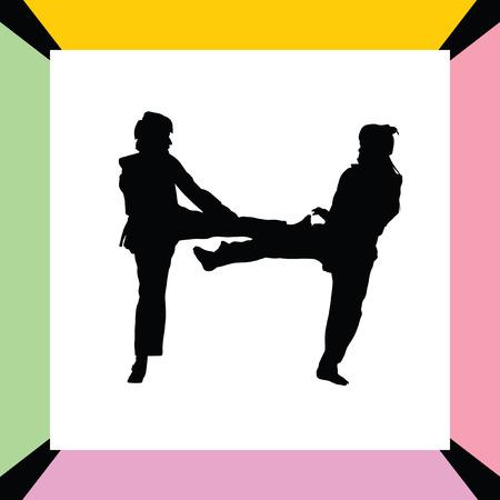 taekwondo woman silhouette vector