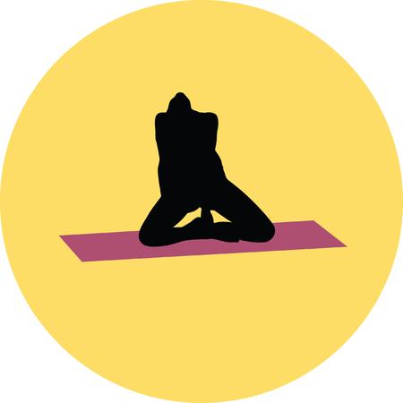 yoga exercise silhouette Illustration