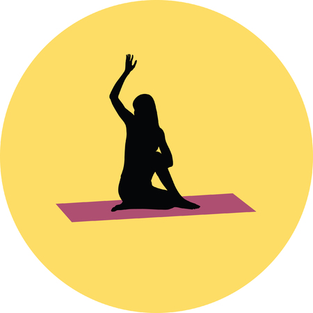 recreational pursuit: yoga exercise silhouette Illustration
