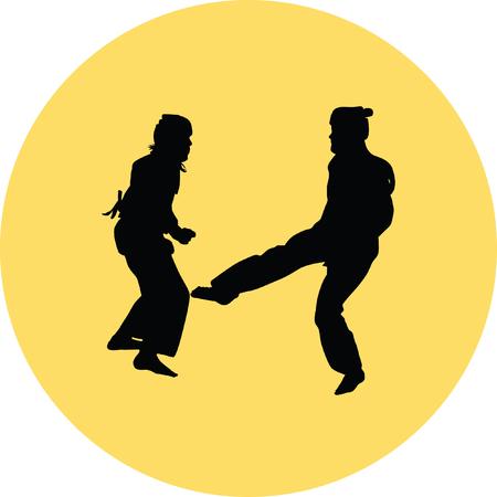 girl fist: taekwondo woman silhouette vector