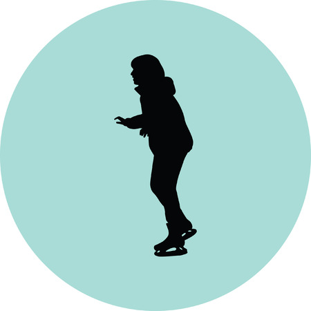 ice skating silhouette vector Illustration