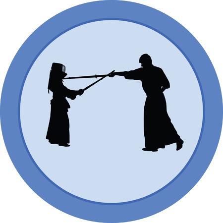 kendo japanese sport silhouette vector Illustration