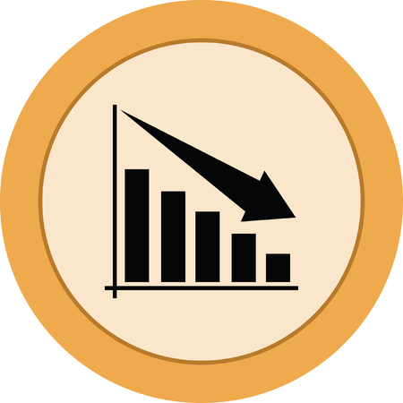 decreasing: Bar chart decrease sign