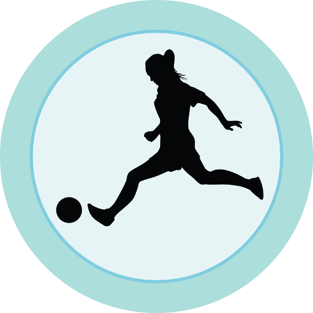 young girl feet: woman soccer player