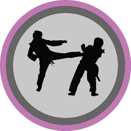 sidekick: taekwondo woman silhouette vector