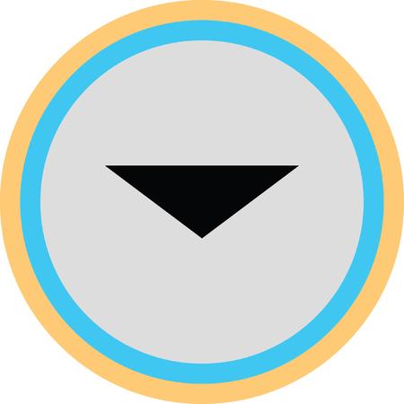 exit sign icon: down arrow vector icon