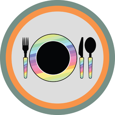 spoon fork: spoon fork knife and plate icon