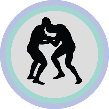wrestling silhouette vector Illustration