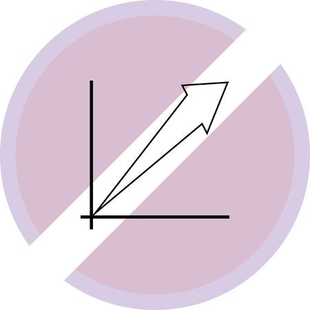 Bar chart increase sign
