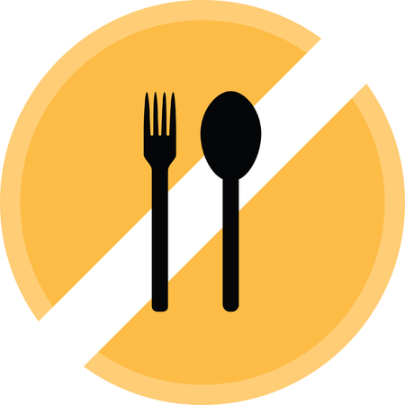 serving utensil: Spoon and fork icon. Illustration