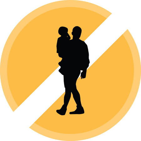 father: Father carrying a baby. Illustration