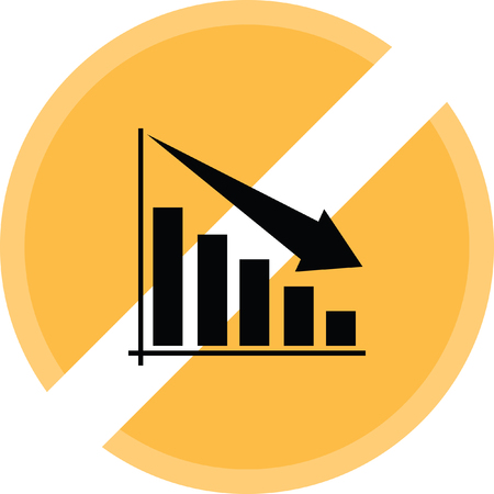 Bar chart decrease sign