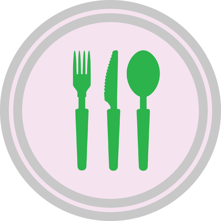 spoon and fork icon on a white background Illustration