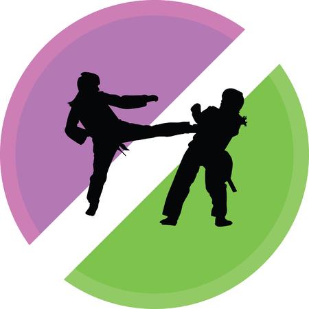 taekwondo woman silhouette vector on a white background