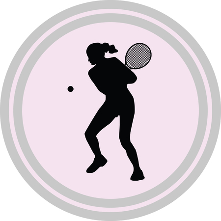 gripping: girl play tennis icon on a white background