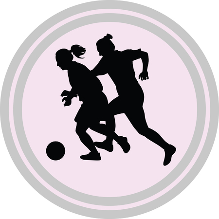 woman soccer player on a white background Illustration