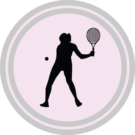 girl play tennis illustration on a white background