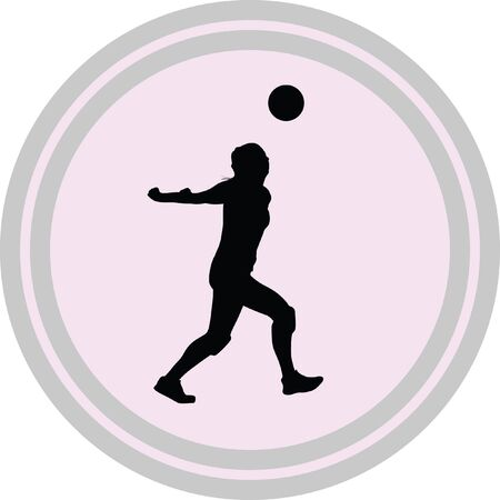 volley: volleyball woman player icon on a white background