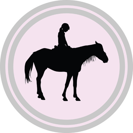 horse riding school illustration on a white background