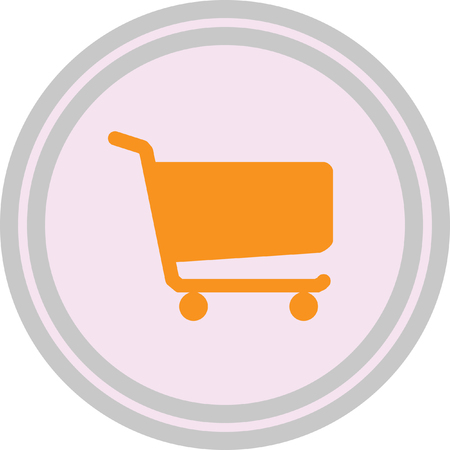 Shopping cart sign on a white background Illustration