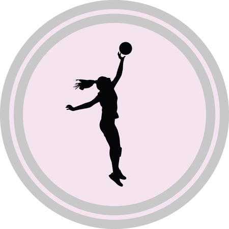 volleyball woman player icon on a white background