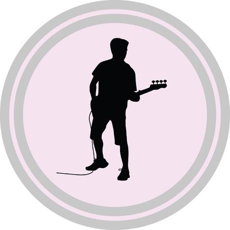 guitarist illustration on a white background Illustration