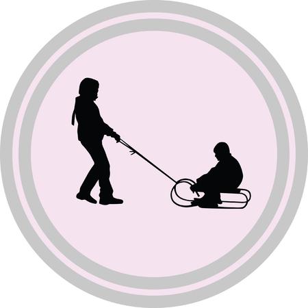 sledding illustration on a white background