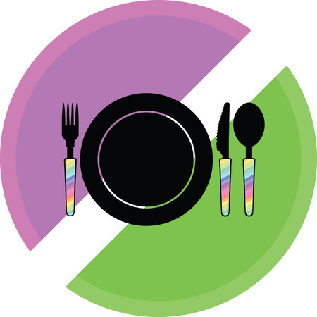 spoon fork knife and plate icon