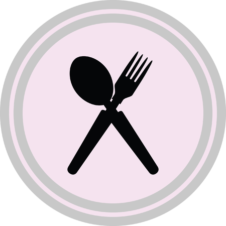 serving utensil: spoon and fork icon