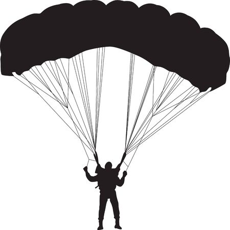 soar: parachutist silhouette vector Illustration