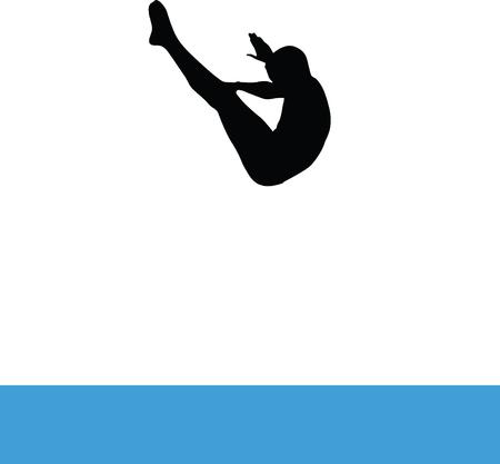Man jump into pool Illustration