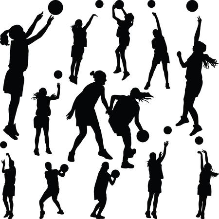 basketball woman player  イラスト・ベクター素材
