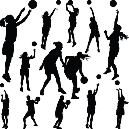 basketball woman player Stock Illustratie