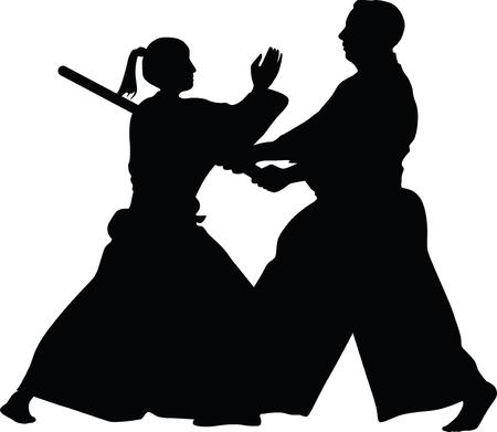 Aikido krijgskunst Stock Illustratie