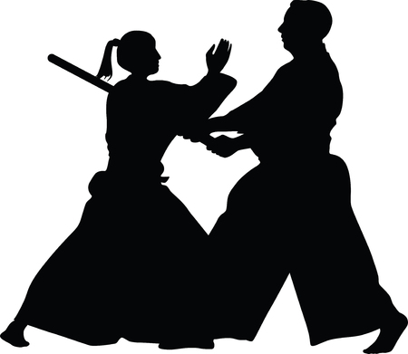 aikido martial art Ilustrace