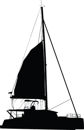 sailing boat catamaran Illustration