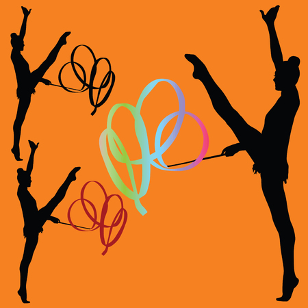 Rhythmic gymnastics with ribbon wilhouette