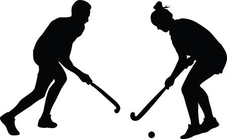 Mensen die hockey spelen