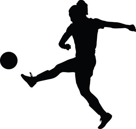 Sylwetka kobiety piłka nożna. Ilustracje wektorowe