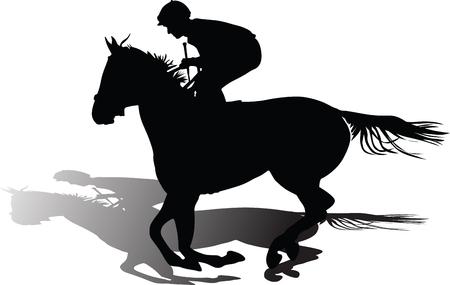 Horse riding school. horse and jockey Illustration