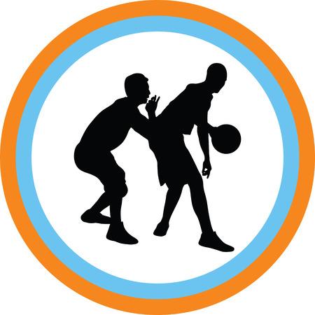 basketball players silhouette Vector illustration. Vettoriali