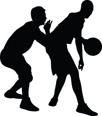 basketball players silhouette Vector illustration. Illustration