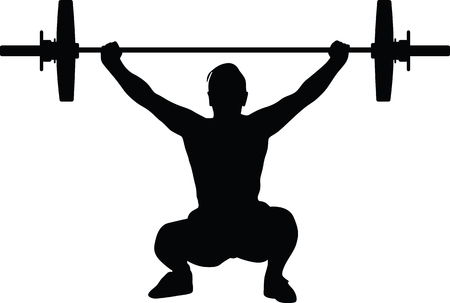 Weightlifting man silhouette illustration.