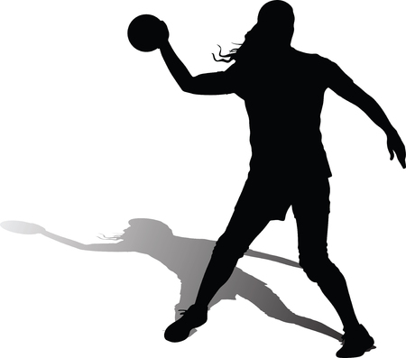 handball girl player silhouette