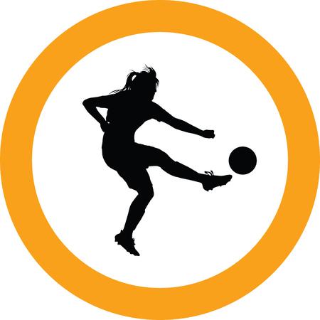 soccer women silhouette girl player vector