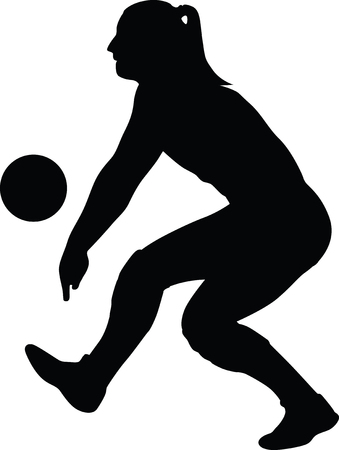 collezione di giocatore di pallavolo donna in diverse pose Vettoriali