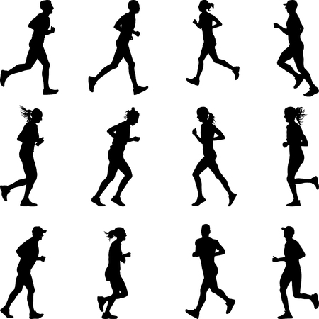 group of twelve men and women runners silhouette vector